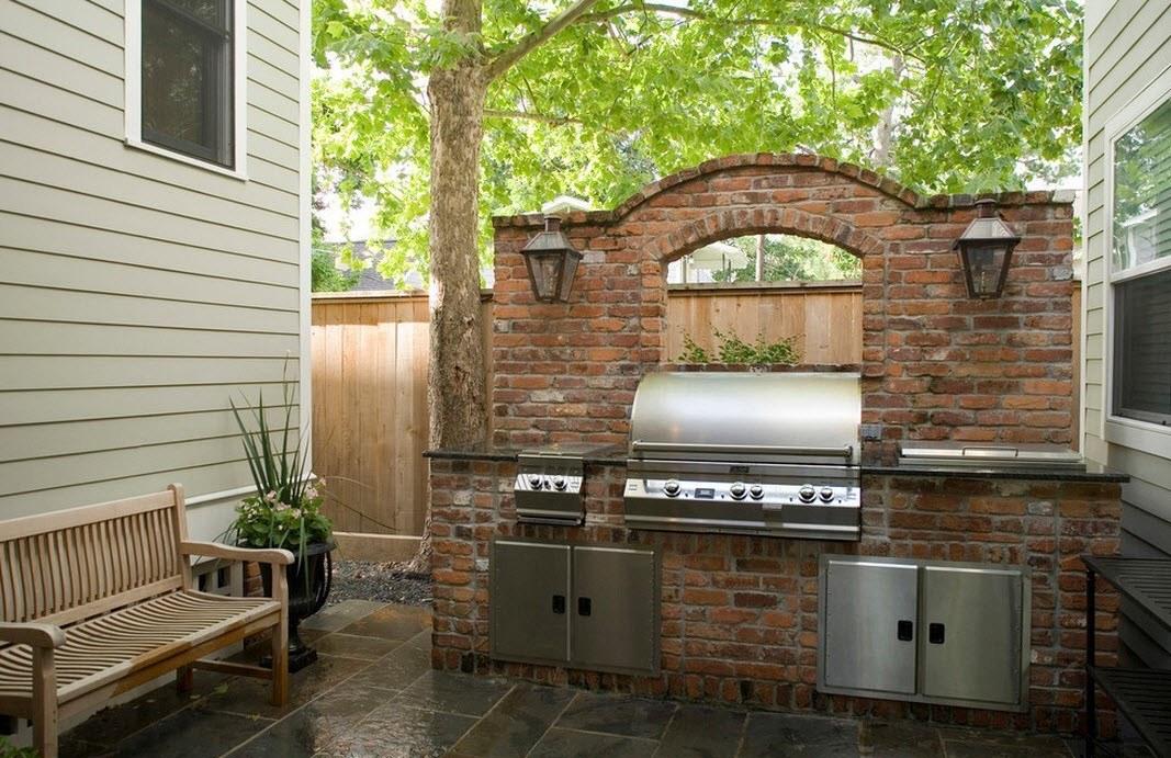 Зона приготовления барбекю во дворе