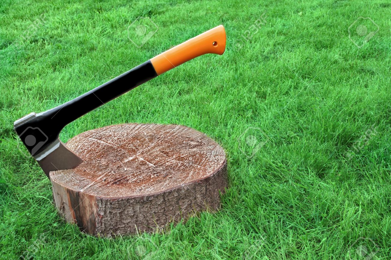 Modern Axe Or Wood Splitter Set In Chopping Block Close-up Grass On The Background With Copy Space
