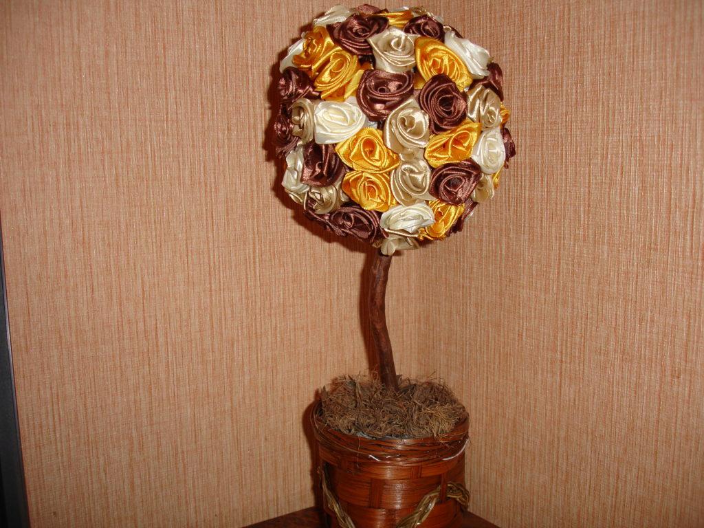 Дерево из атласных лент мастер класс с пошаговыми фото