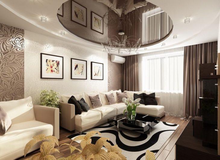натяжные потолки дизайн квартиры