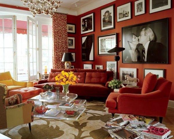 интерьер в красном цвете фото