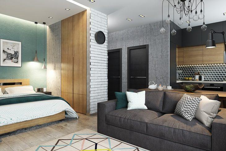 Современный дизайн интерьера квартиры студии 2019