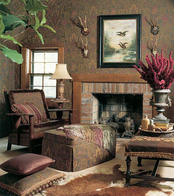 дизайн интерьера гостиной с камином