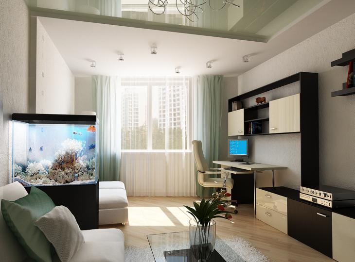 дизайн интерьера однокомнатной квартиры с нишей