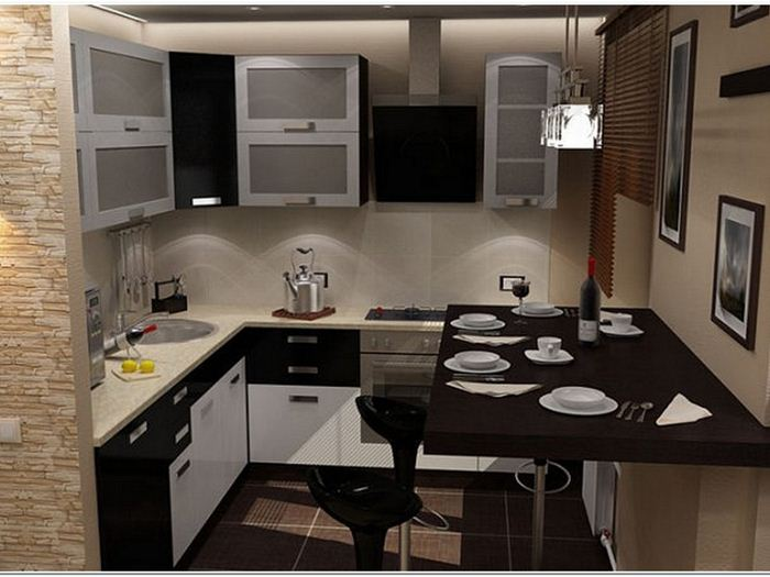 дизайн интерьера малогабаритной кухни