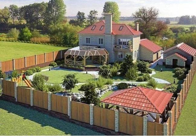 ландшафтный дизайн участка загородного дома фото