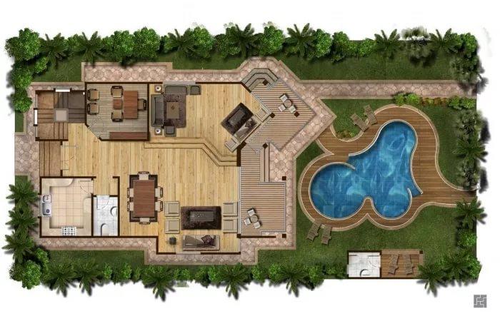 ландшафтный дизайн с бассейном