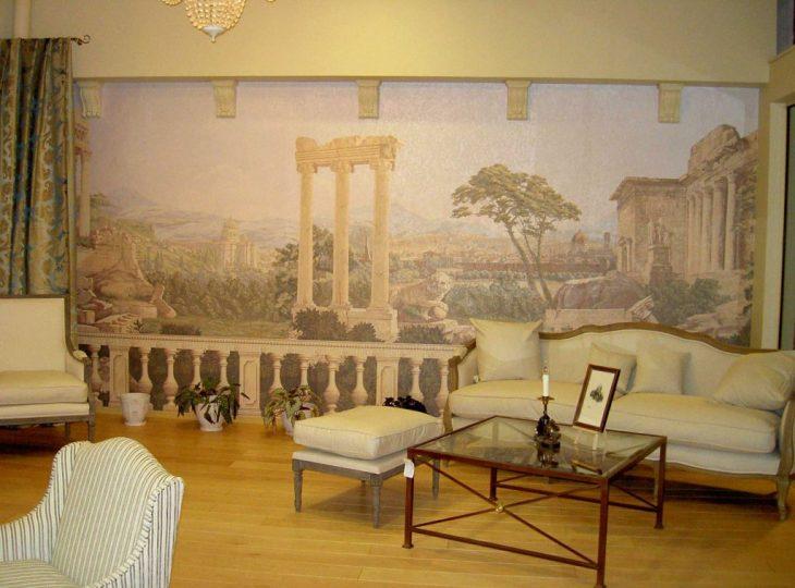 фотообои фреска в интерьере