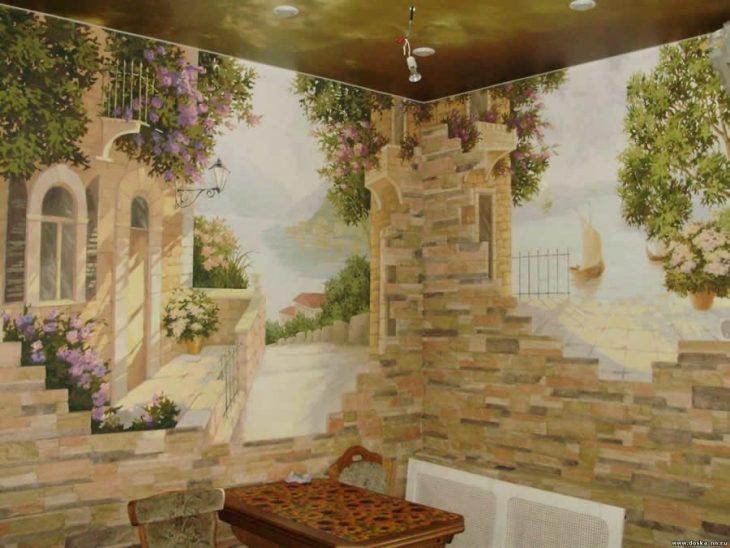 современные фрески в интерьере