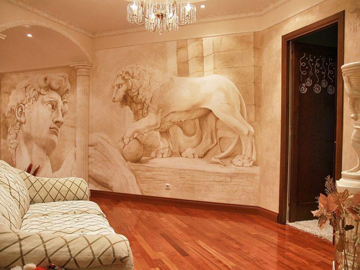 настенные фрески в интерьере