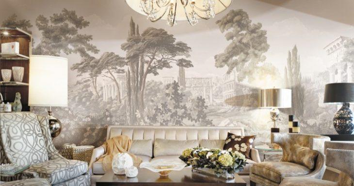 фрески на стене в интерьере