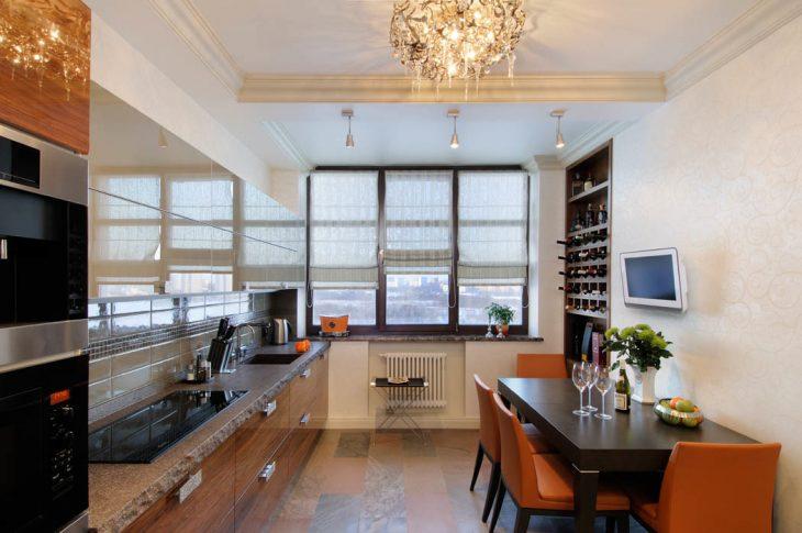 интерьер кухни квартиры студии