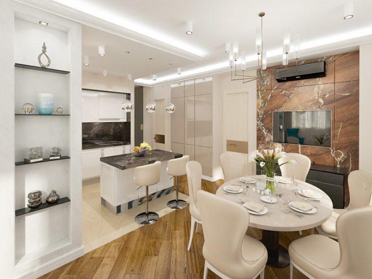 современный интерьер кухни в квартире 2019