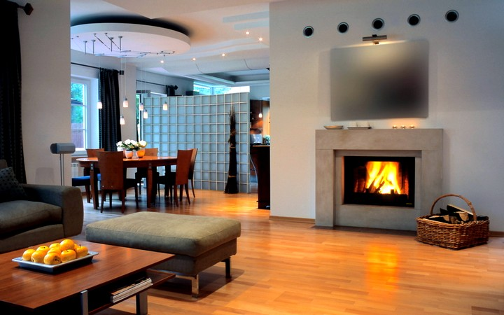 Designs for living rooms with fireplaces
