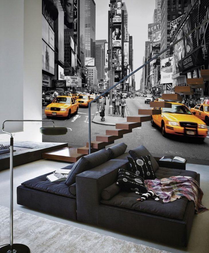 фотообои на стене в интерьере