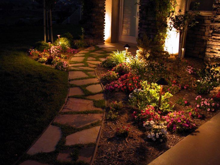 фасадное освещение загородного дома