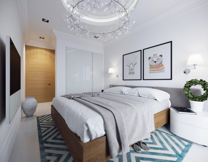 кровать в спальне скандинавского стиля