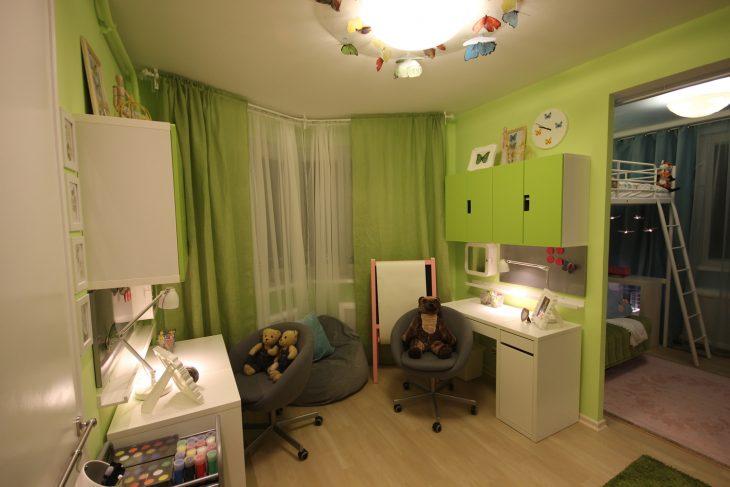 зонирование детской комнаты для разнополых детей
