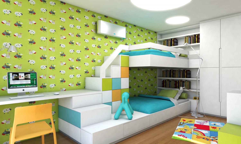 Самым простым способом зонирования комнаты для двух разнополых детей являются шторы.