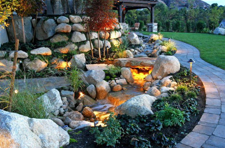 ландшафтный дизайн участка камнями