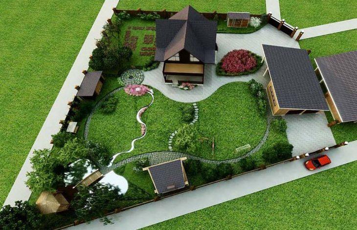 прямоугольный дачный участок ландшафтный дизайн