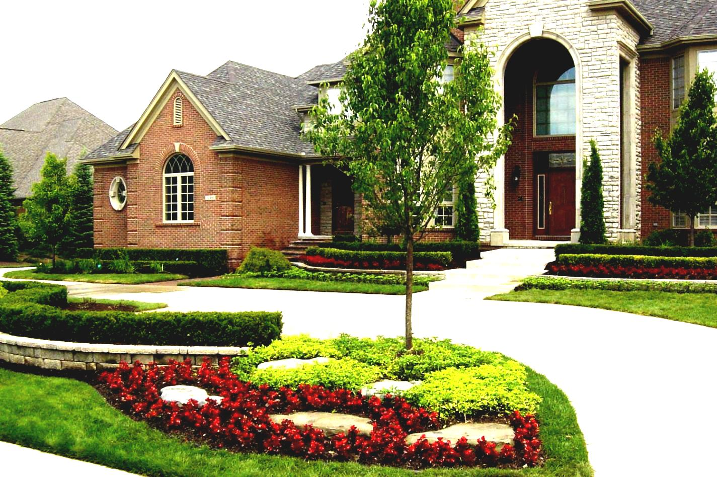 front-yard-landscaping-house-small-with-grass-area-and-grey-pebble-space-classic-facing-wonderful-red-flowers-green-plantations