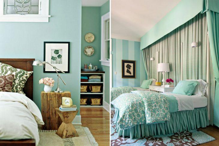 мятный цвет в интерьере гостиной