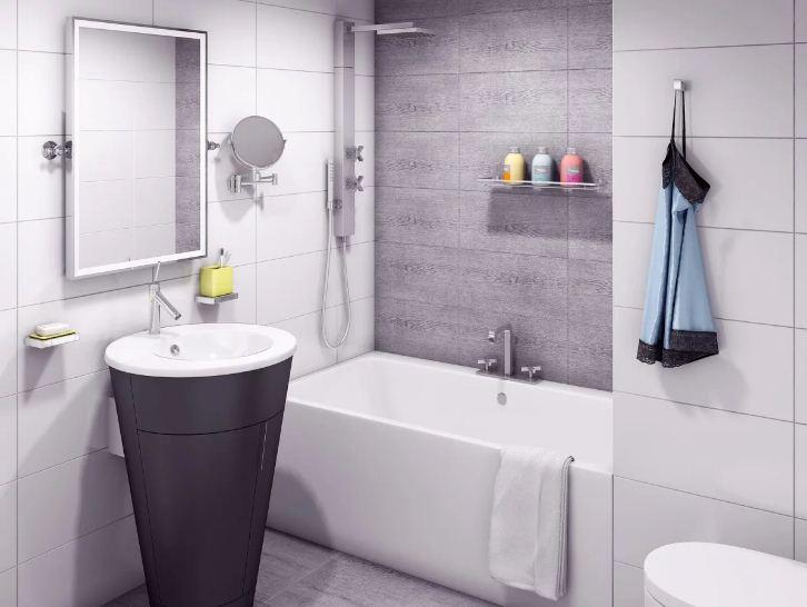 маленькая ванная комната в скандинавском стиле