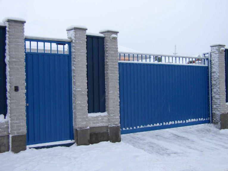 ворота въездной установка